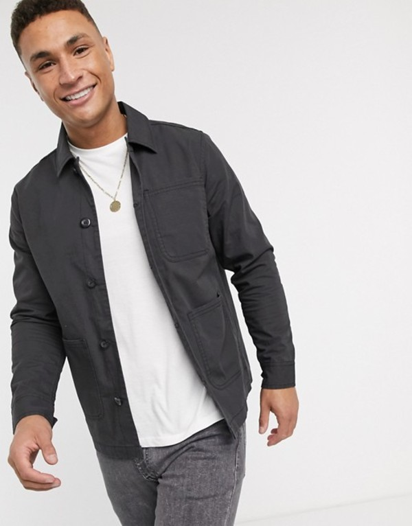 ブレーブソウル メンズ ジャケット・ブルゾン アウター Brave Soul doron worker jacket with pockets in black Black