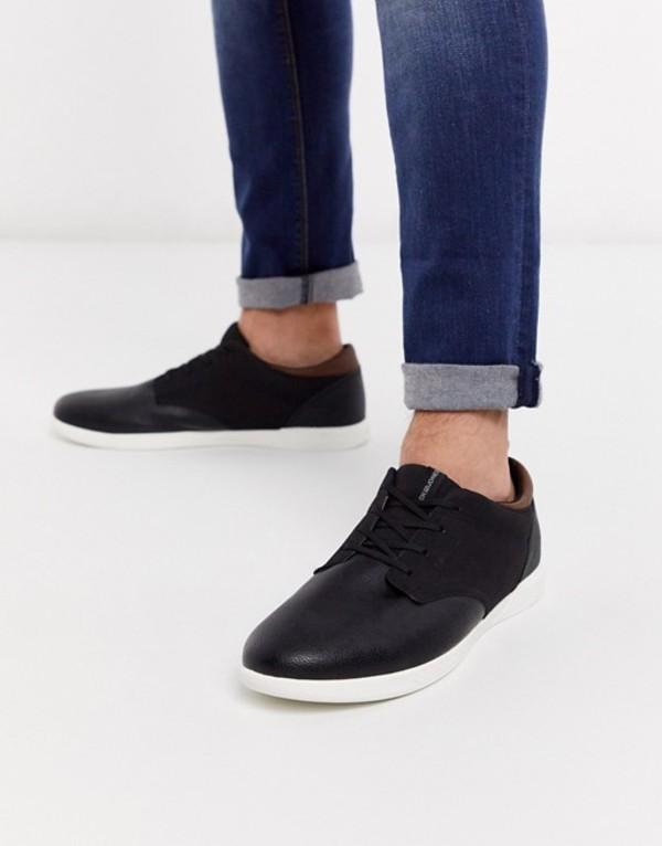 ジャック アンド ジョーンズ メンズ スニーカー シューズ Jack & Jones faux leather sneaker in black Anthracite