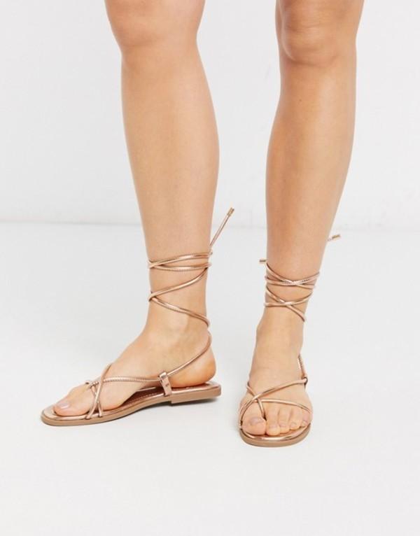 トリュフコレクション レディース サンダル シューズ Truffle Collection square toe tie leg flat sandal Rose gold pu