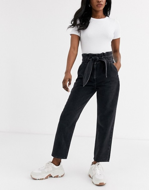 アンドアザーストーリーズ レディース デニムパンツ ボトムス & Other Stories tie detail high-waist jeans in washed black Black
