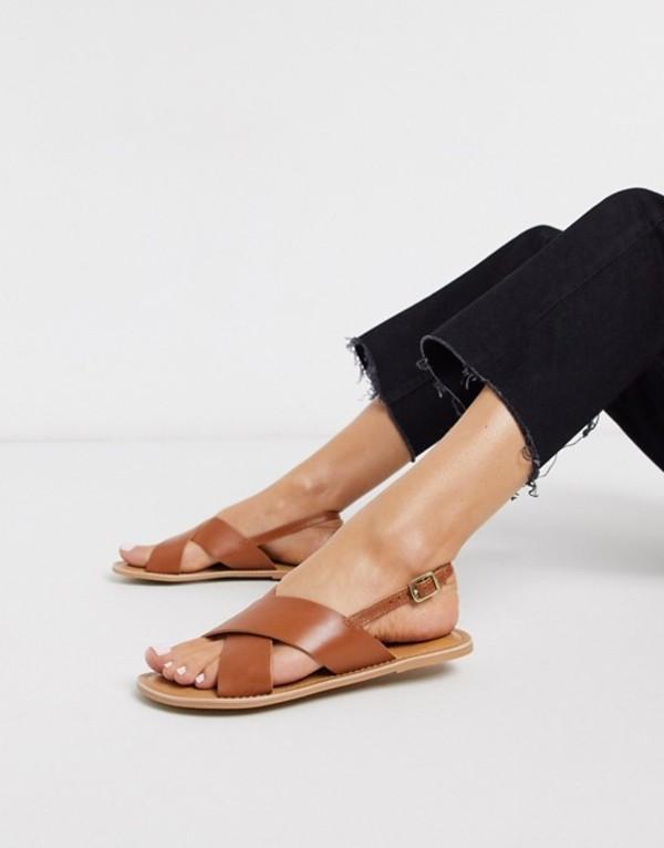 ルールロンドン レディース サンダル シューズ Rule London leather flat sandals in tan Tan leather