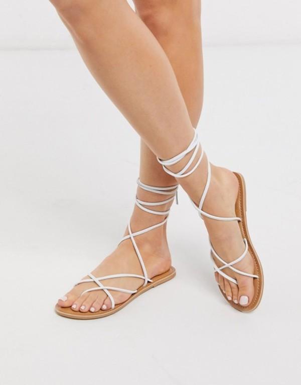 ルールロンドン レディース サンダル シューズ Rule London leather strappy tie leg sandals in white White leather