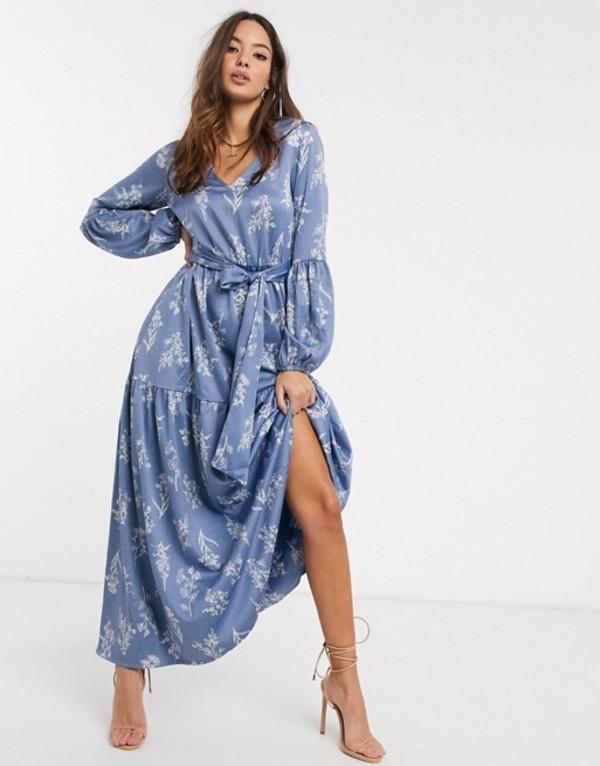 ワイエーエス レディース ワンピース トップス Y.A.S maxi dress with balloon sleeves in blue floral Multi