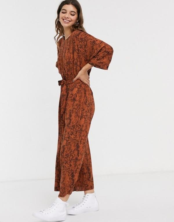 エイソス レディース ワンピース トップス ASOS DESIGN tie waist jumpsuit in animal print Brown snake