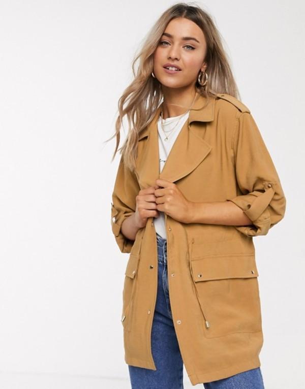 プルアンドベアー レディース ジャケット・ブルゾン アウター Pull&Bear utility jacket in brown Brown