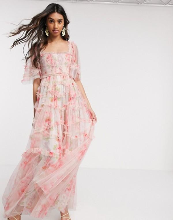 ニードルアンドスレッド レディース ワンピース トップス Needle & Thread smocked maxi dress in spring rose print Rose print