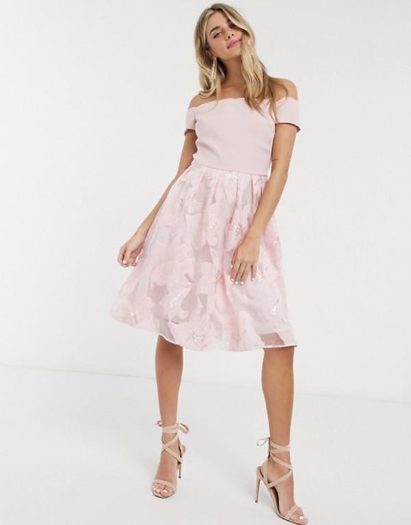チチロンドン レディース ワンピース トップス Chi Chi Antara midi dress in pink Pink