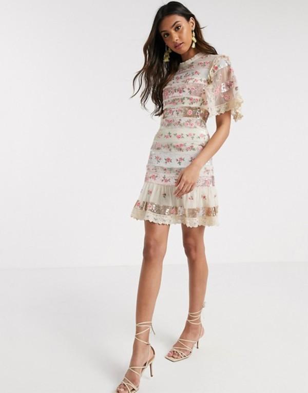 ニードルアンドスレッド レディース ワンピース トップス Needle & Thread embellished stripe floral mini dress in ivory Ivory