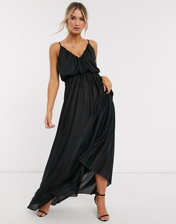 エイソス レディース ワンピース トップス ASOS DESIGN cami plunge maxi dress with blouson top in black Black