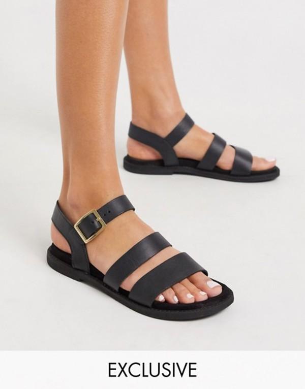 ウエアハウス レディース サンダル シューズ Warehouse multistrap footbed leather sandals in black Black