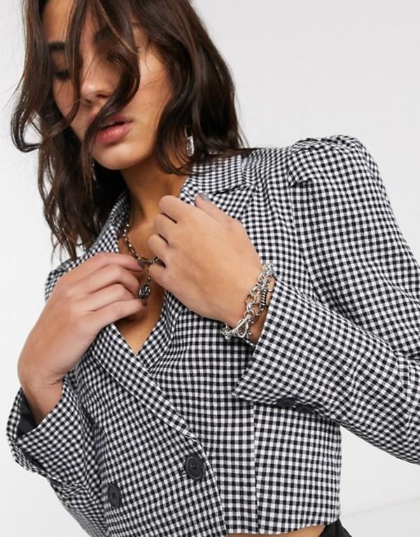 ベルシュカ レディース ジャケット・ブルゾン アウター Bershka cropped gingham blazer with puff sleeve in monochrome Multi