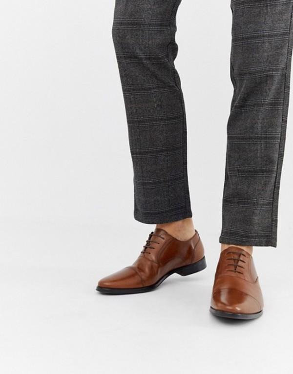エイソス メンズ オックスフォード シューズ ASOS DESIGN oxford shoes in tan leather with toe cap Tan