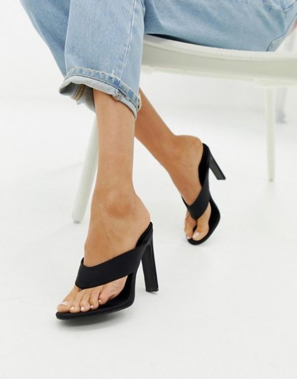 シミ レディース ヒール シューズ Simmi London black toe post heeled sandals Black