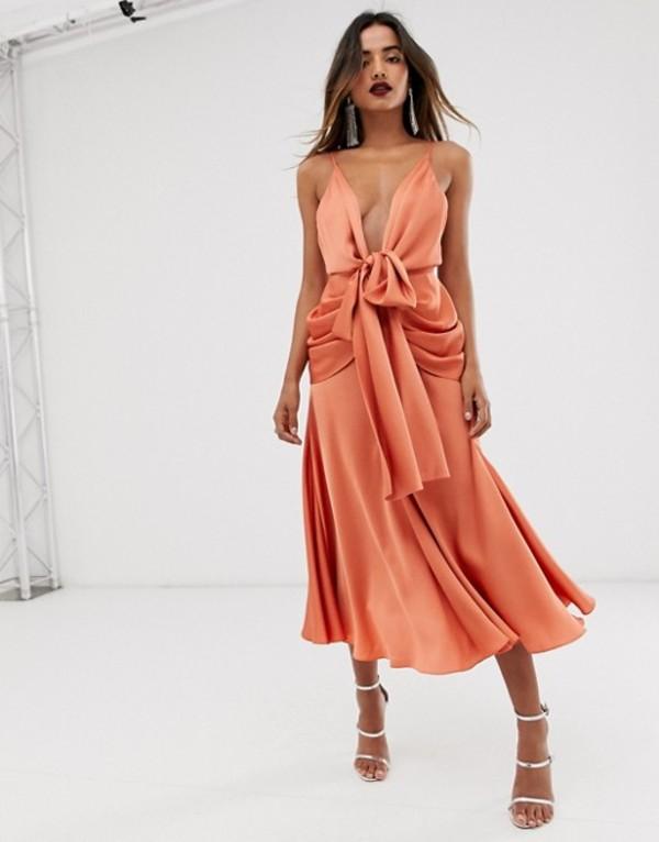 エイソス レディース ワンピース トップス ASOS EDITION satin plunge strappy midi dress with tie front Copper