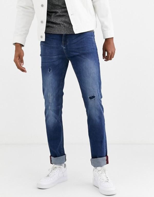 デューク メンズ デニムパンツ ボトムス Duke tall jeans with rip and repair detail in blue stone wash Blue