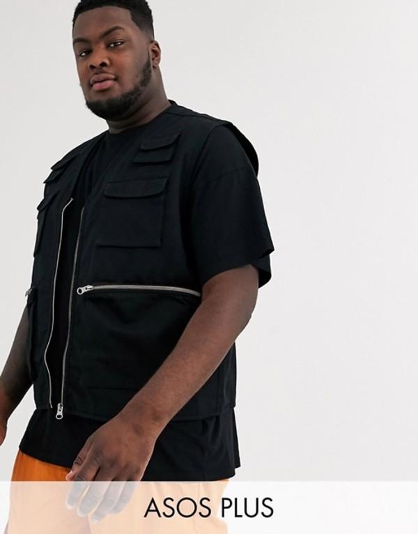 エイソス メンズ タンクトップ トップス ASOS DESIGN Plus utility vest in black Black