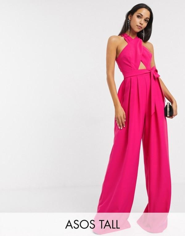 エイソス レディース ワンピース トップス ASOS EDITION Tall cross front jumpsuit with tie Pink