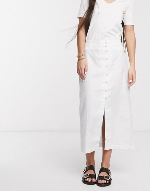 エイソス レディース スカート ボトムス ASOS DESIGN splendid linen button through midi skirt White