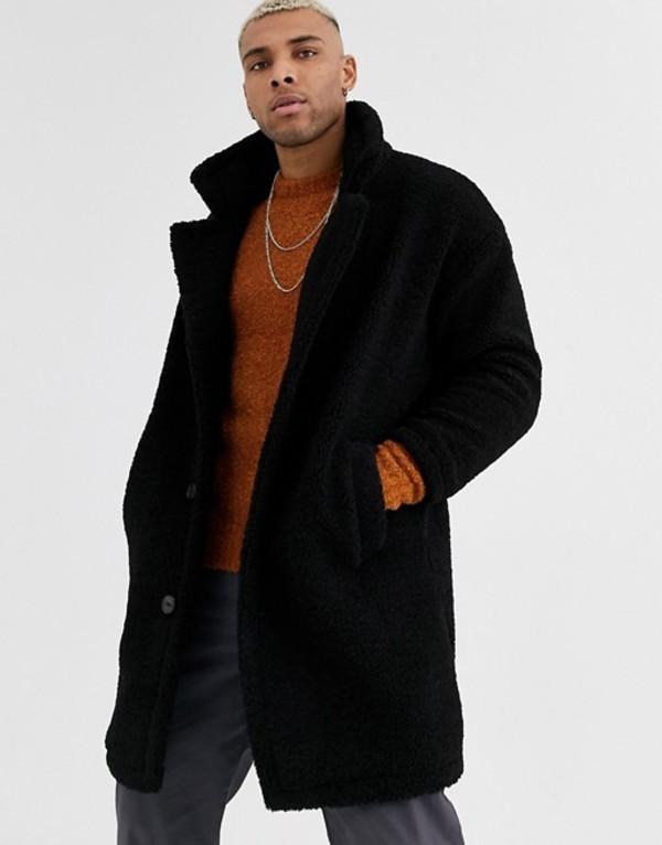 ジャック アンド ジョーンズ メンズ コート アウター Jack & Jones Originals oversized teddy over coat in black Black