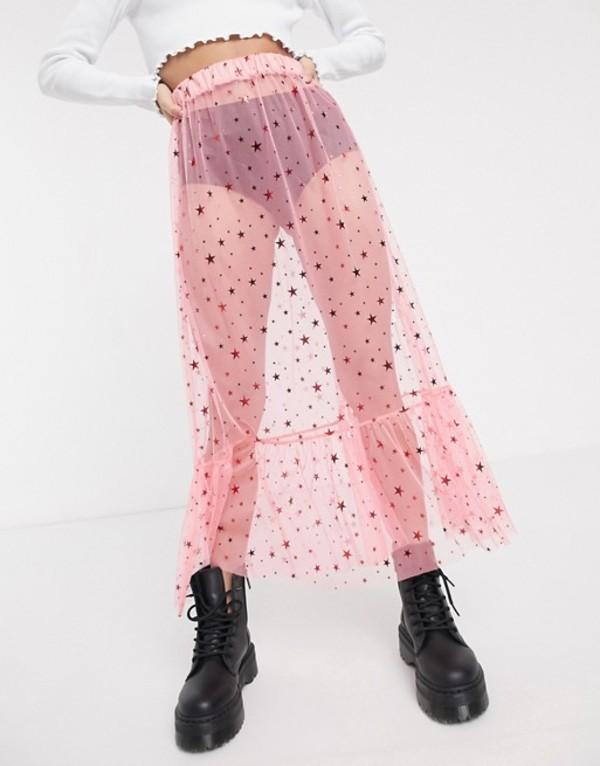 ニューガールオーダー レディース スカート ボトムス New Girl Order midi skirt in star print mesh with ruffle hem Pink