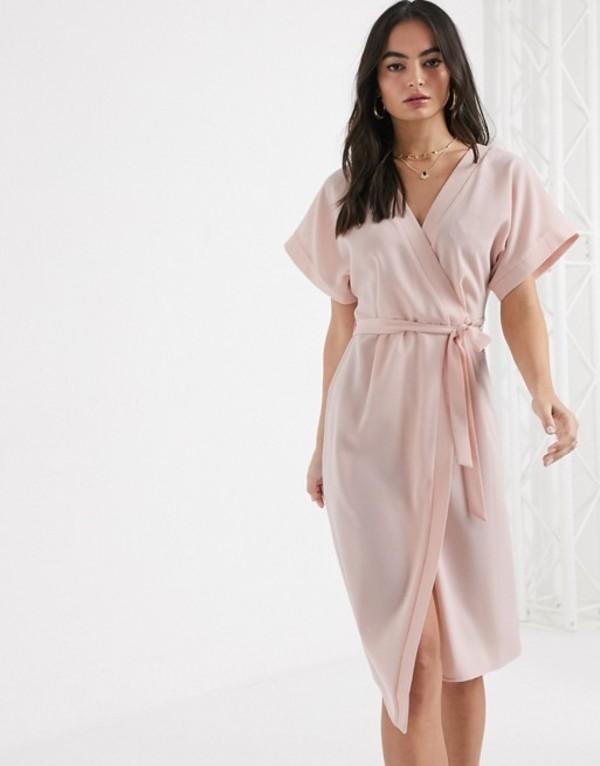 エイソス レディース ワンピース トップス ASOS DESIGN wrap midi dress in blush Blush