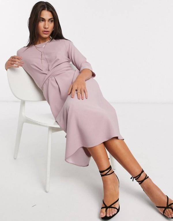 エイソス レディース ワンピース トップス ASOS DESIGN tie wrap around midi skater dress in blush Silver blush