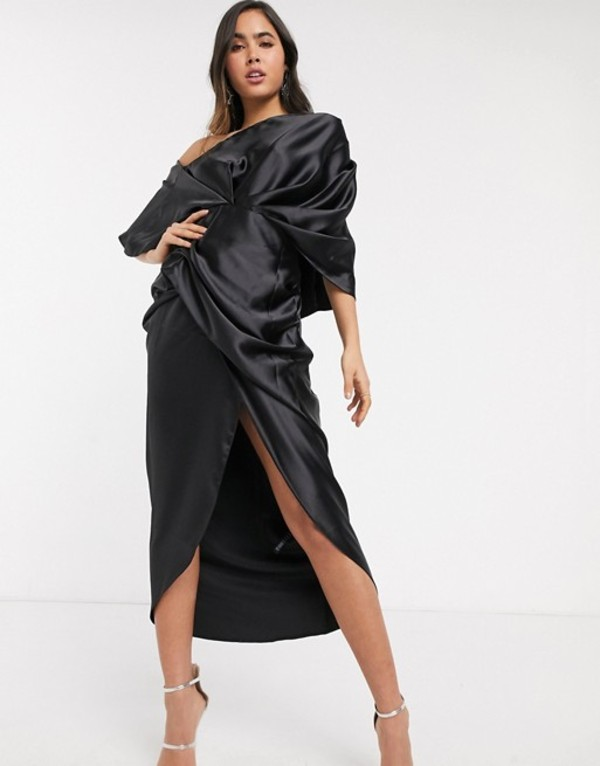エイソス レディース ワンピース トップス ASOS EDITION drape asymmetric maxi dress in satin Black