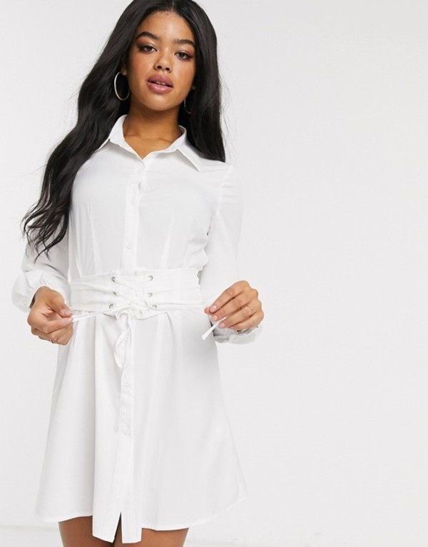 インザスタイル レディース ワンピース トップス In The Style corset detail oversized shirt in white White