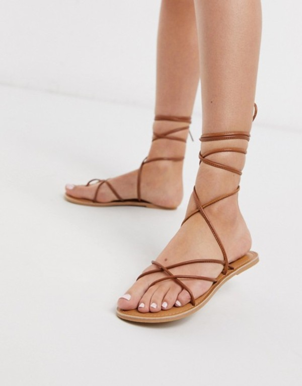ルールロンドン レディース サンダル シューズ Rule London leather strappy tie leg sandals in tan Tan leather