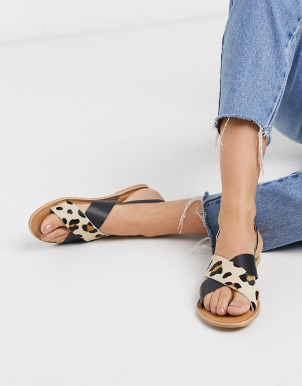 ルールロンドン レディース サンダル シューズ Rule London leather flat sandals in black and leopard Black/leopard