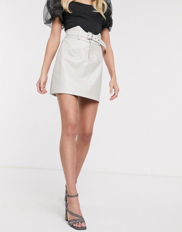 アウトレイジャスフォーチュン レディース スカート ボトムス Outrageous Fortune pu mini aline skirt with belt in cream Cream