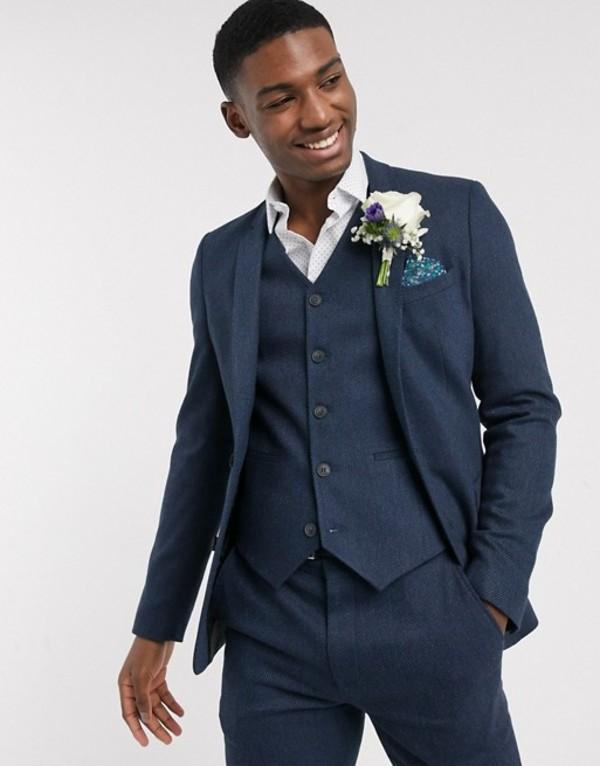 エイソス メンズ ジャケット・ブルゾン アウター ASOS DESIGN wedding skinny wool mix suit jacket in navy herringbone Navy