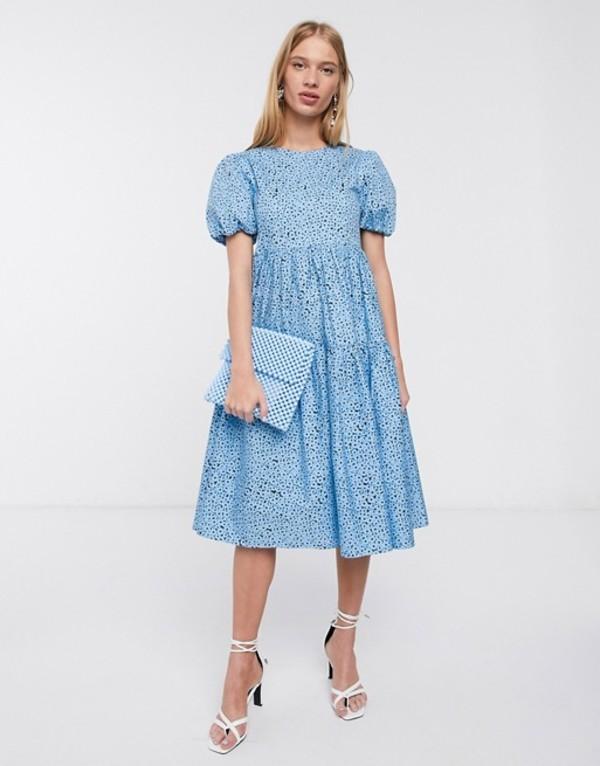 グラマラス レディース ワンピース トップス Glamorous midi smock dress with tiered skirt and volume sleeves in floral Blue black floral