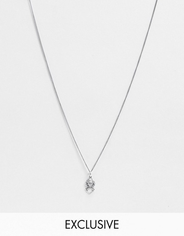 リクレイム ヴィンテージ メンズ ネックレス・チョーカー アクセサリー Reclaimed Vintage Inspired sterling silver spider necklace Silver