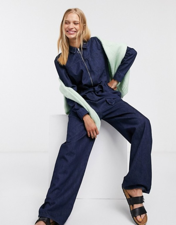 セレクティッド レディース ワンピース トップス Selected Dana denim belted jumpsuit Dark blue denim