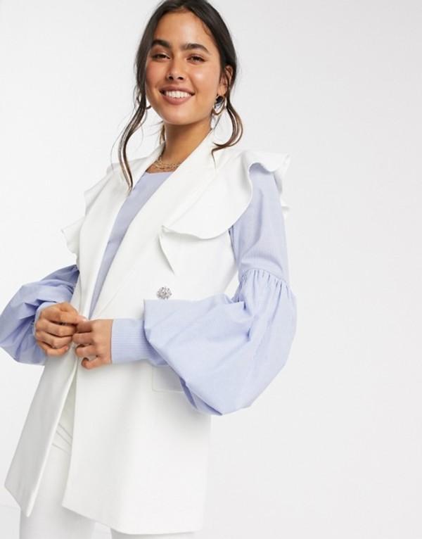 リバーアイランド レディース ジャケット・ブルゾン アウター River Island sleeveless frill blazer in white White