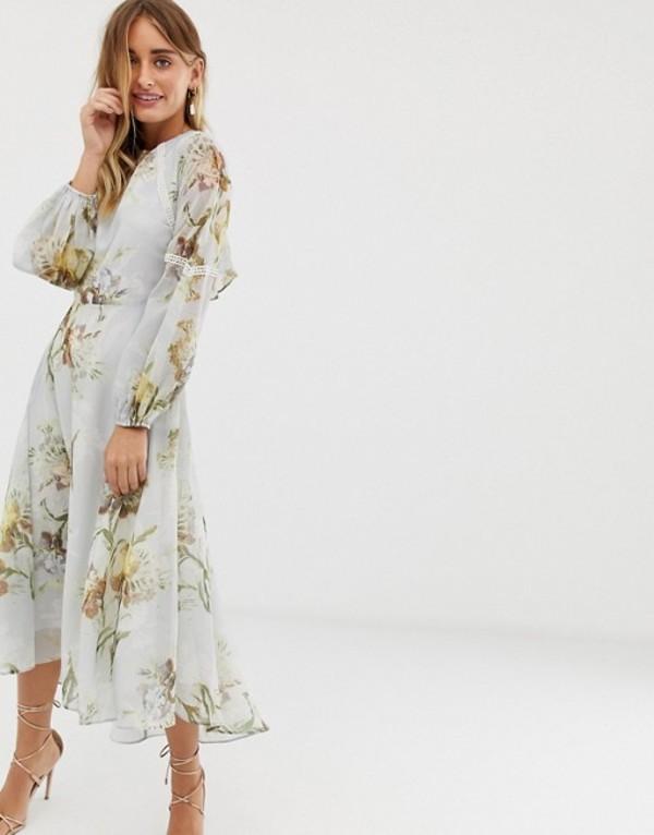 ホープ&アイビー レディース ワンピース トップス Hope & Ivy high neck midi dress with open back in blue floral Multi