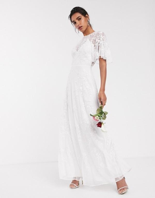 エイソス レディース ワンピース トップス ASOS EDITION embroidered & beaded flutter sleeve wedding dress Ivory