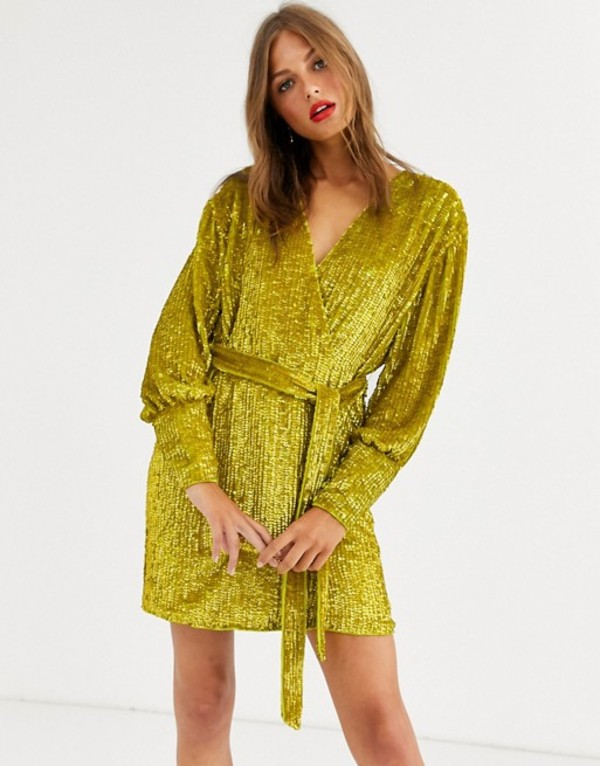 エイソス レディース ワンピース トップス ASOS EDITION sequin wrap mini dress Yellow