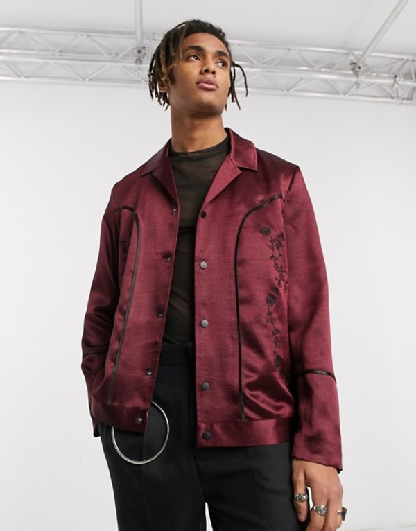 エイソス メンズ ジャケット・ブルゾン アウター ASOS EDITION western revere harrington jacket in burgundy satin with embroidery Burgundy