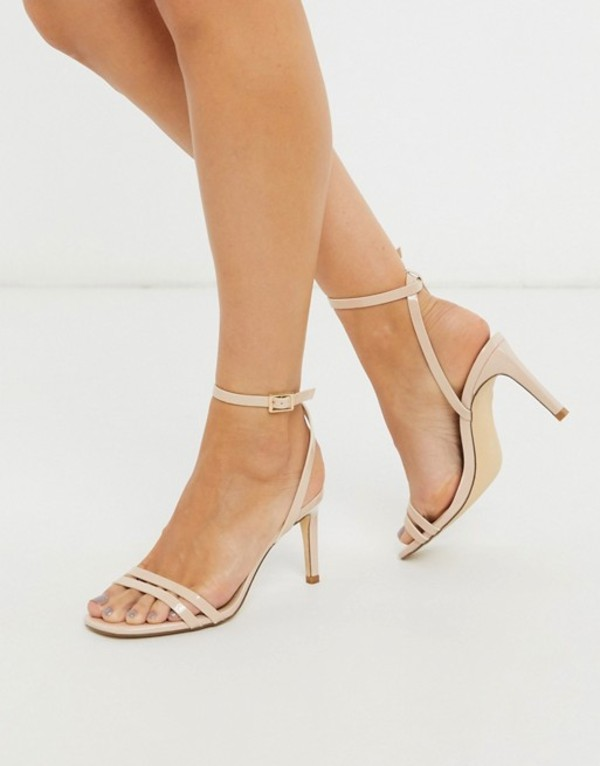 トリュフコレクション レディース サンダル シューズ Truffle Collection wide fit square toe strappy heeled sandals in beige Beige pu