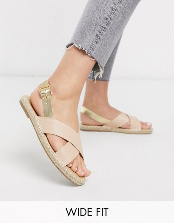 トリュフコレクション レディース サンダル シューズ Truffle Collection square toe cross strap espadrille sandal Beige/metallic