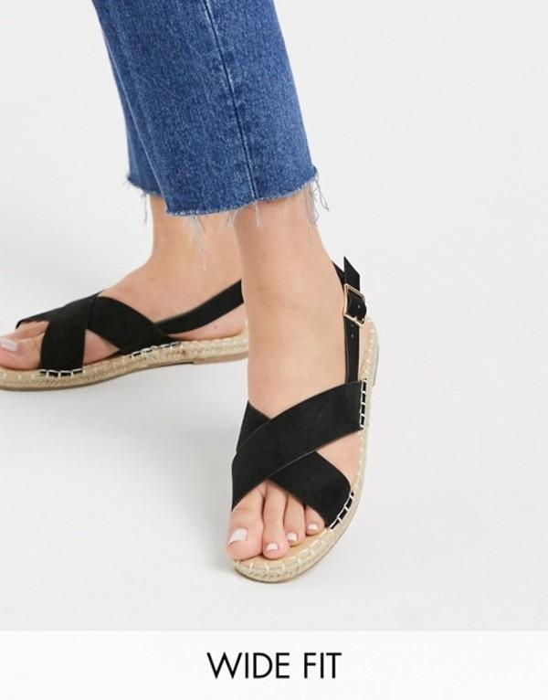 トリュフコレクション レディース サンダル シューズ Truffle Collection wide fit cross strap espadrille sandal Black