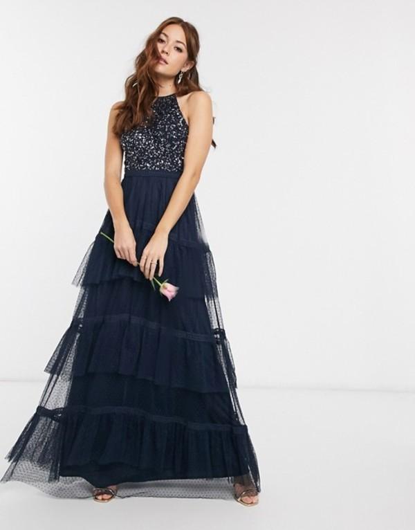 マヤ レディース ワンピース トップス Maya Bridesmaid high neck delicate sequin tiered hem maxi dress in navy Navy