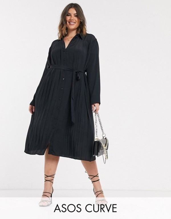 エイソス レディース ワンピース トップス ASOS DESIGN Curve pleated midi shirt dress in black Black