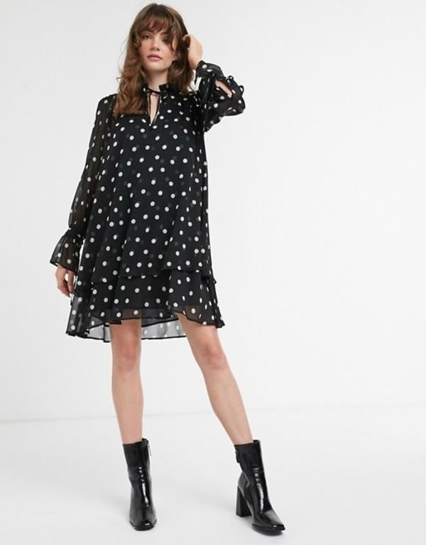 アンドアザーストーリーズ レディース ワンピース トップス & Other Stories polka dot mini smock dress in black Black polka dot