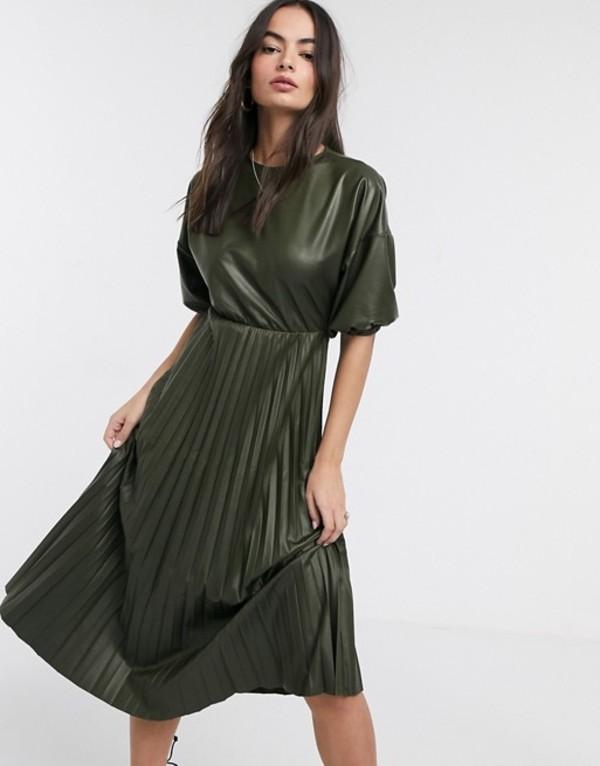 エイソス レディース ワンピース トップス ASOS DESIGN leather look midi pleated dress in khaki Khaki