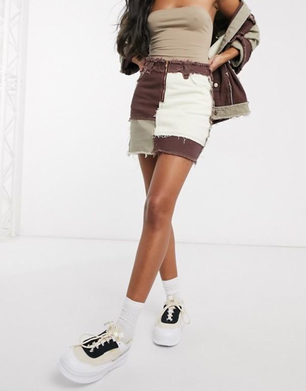 ジェーデッド レディース スカート ボトムス Jaded London mini skirt in denim patchwork Brown patchwork