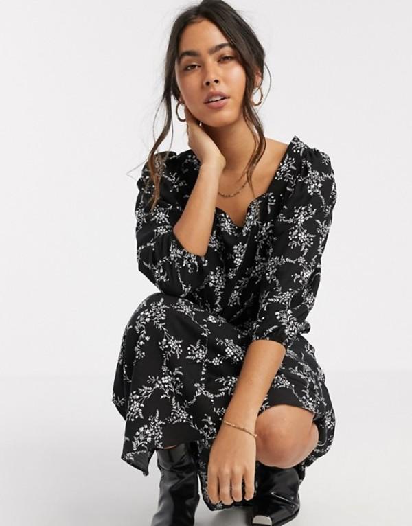リバーアイランド レディース ワンピース トップス River Island floral midi smock dress in black Black sprig print