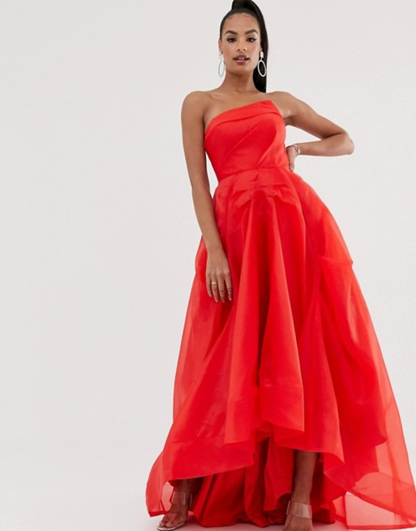 バリアーノ レディース ワンピース トップス Bariano full maxi dress with organza bust detail in red Red